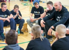 Lawrence Dallaglio pays a visit to Oakfield school in Newcastle to see how some of the pupils there have been taking part in his Dallaglio Foundation. The foudation was set up by Lawrence to nurture and develop the essential skills of disadvantaged young people.(Note no names of pupils to be used)Pic: Andy Commins 21/02/15